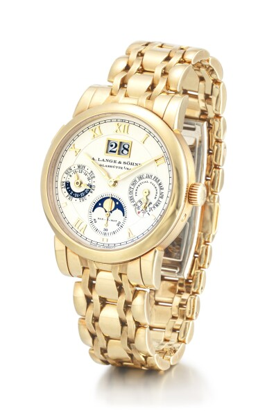 View 2. Thumbnail of Lot 57. A. LANGE & SÖHNE | SAX-O-MAT LANGEMATIK PERPETUAL, REFERENCE 310.221E, A YELLOW GOLD PERPETUAL CALENDAR WRISTWATCH WITH MOON PHASES, 24 HOURS, LEAP YEAR INDICATION, ZERO-RESET MECHANISM AND BRACELET, CIRCA 2004.