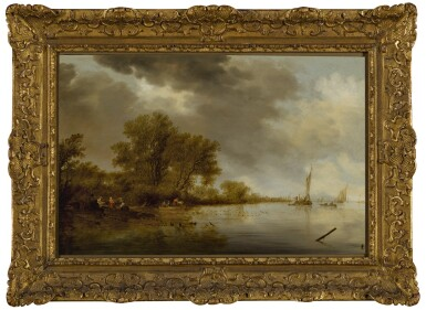 View 2. Thumbnail of Lot 6. River landscape with fishermen tending their nets along a bank.