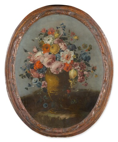 View 4. Thumbnail of Lot 648. A pair of still lifes of roses, anemones, and other flowers in bronze urns, resting on stone ledges.