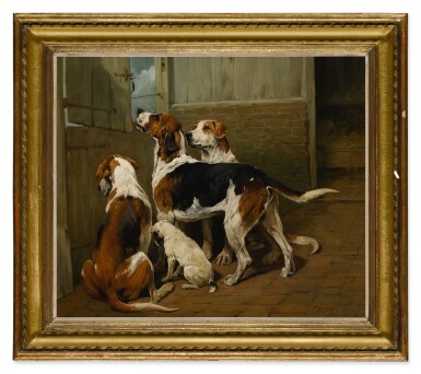 View 2. Thumbnail of Lot 59. JOHN EMMS | HOUNDS BY A STABLE DOOR.