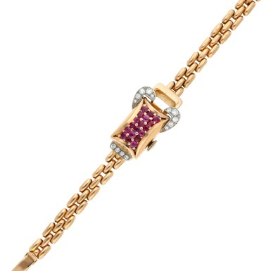 View 7. Thumbnail of Lot 163. A pink gold diamond and ruby-set concealed bracelet watch, Circa 1940.