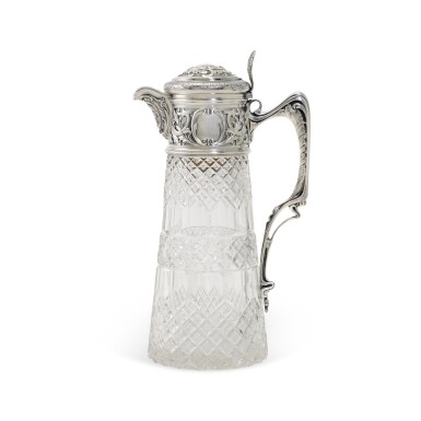 View 1. Thumbnail of Lot 107. A silver-mounted cut-glass decanter, St Petersburg, 1899-1908.