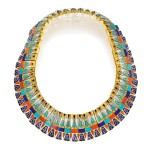 Gold, Coral, Turquoise and Lapis Lazuli Necklace