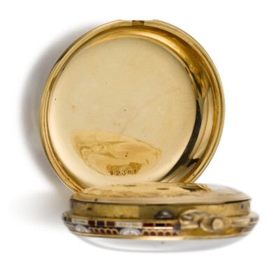View 11. Thumbnail of Lot 293. EDOUARD JUVET, FLEURIER | A MATCHED PAIR OF FINE GOLD AND ENAMEL OPEN-FACED WATCHES MADE FOR THE CHINESE MARKET, CIRCA 1865, NO. 41981 AND 42308.