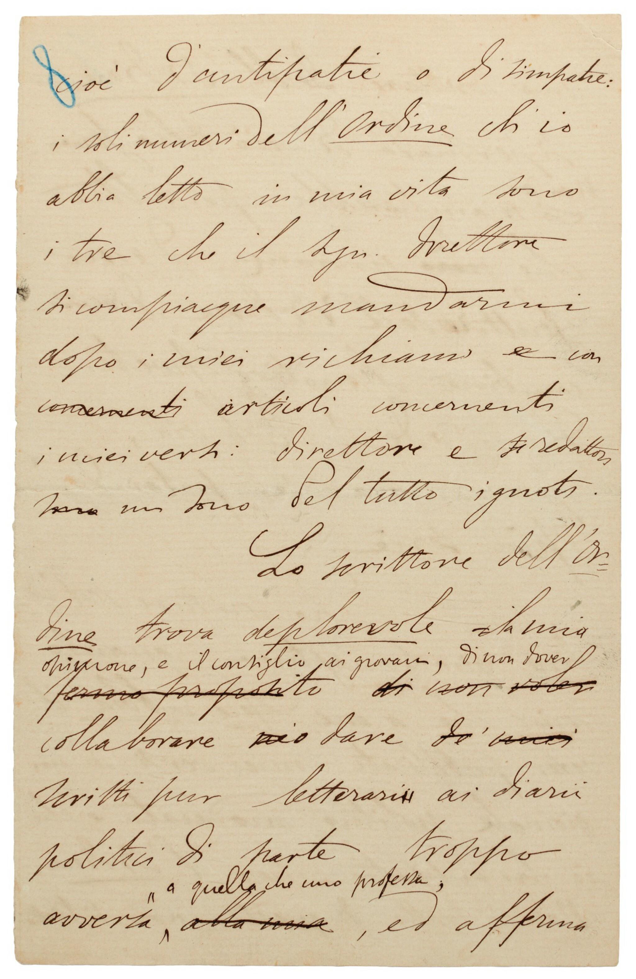 """G. Carducci. Autograph manuscript of his essay on copyright, """"Per l'ordine e contro l'Ordine"""", 1881"""