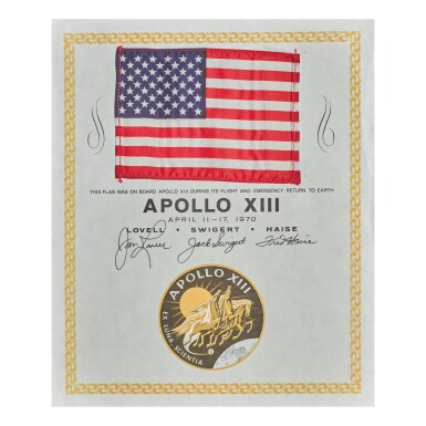 [APOLLO 13]. FLOWN ON APOLLO 13 STARS AND STRIPES, ON CERTIFICATE SIGNED BY THE ENTIRE CREW