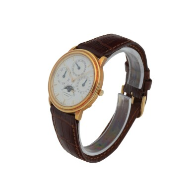 YELLOW GOLD PERPETUAL CALENDAR WRISTWATCH WITH MOON PHASES CIRCA 1990