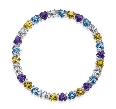 Gem set and diamond necklace, 'Cuori', Michele della Valle