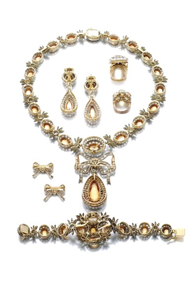 View 3. Thumbnail of Lot 150. TOPAZ AND DIAMOND PARURE, 19TH CENTURY AND LATER.