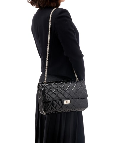 View 5. Thumbnail of Lot 134. Black patent leather and silver-tone metal 2.55 reissue shoulder bag.