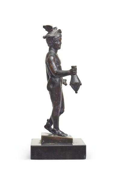 View 5. Thumbnail of Lot 124. A Roman Bronze Figure of Hermes, circa 2nd Century A.D..