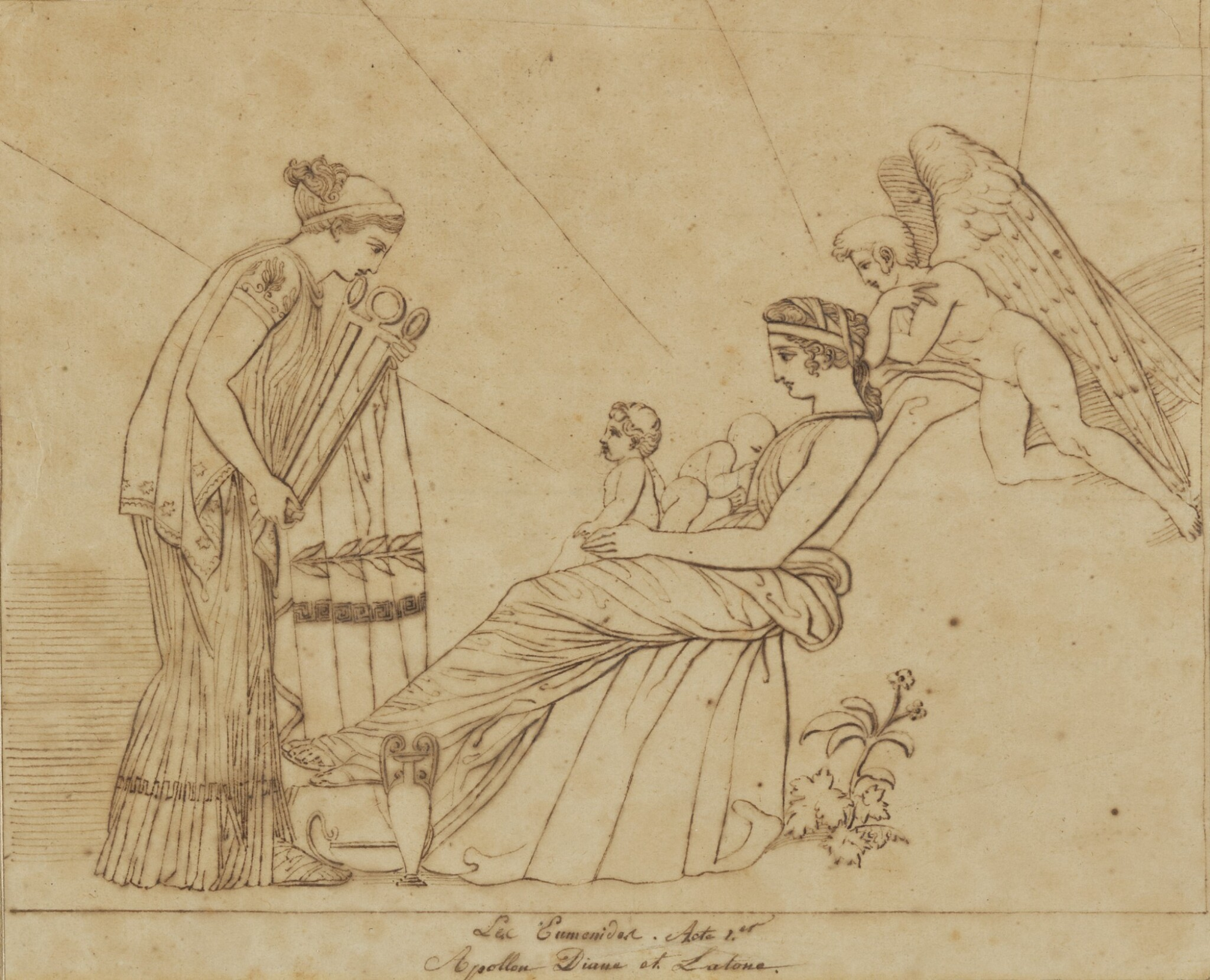 View full screen - View 1 of Lot 38. JOHN FLAXMAN | THREE SCENES FROM LES EUMENIDES: ACTS I, 2 AND 4.