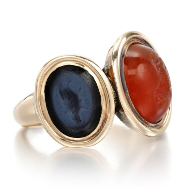 View 2. Thumbnail of Lot 125. Carnelian and onyx intaglio ring, late 18th century.