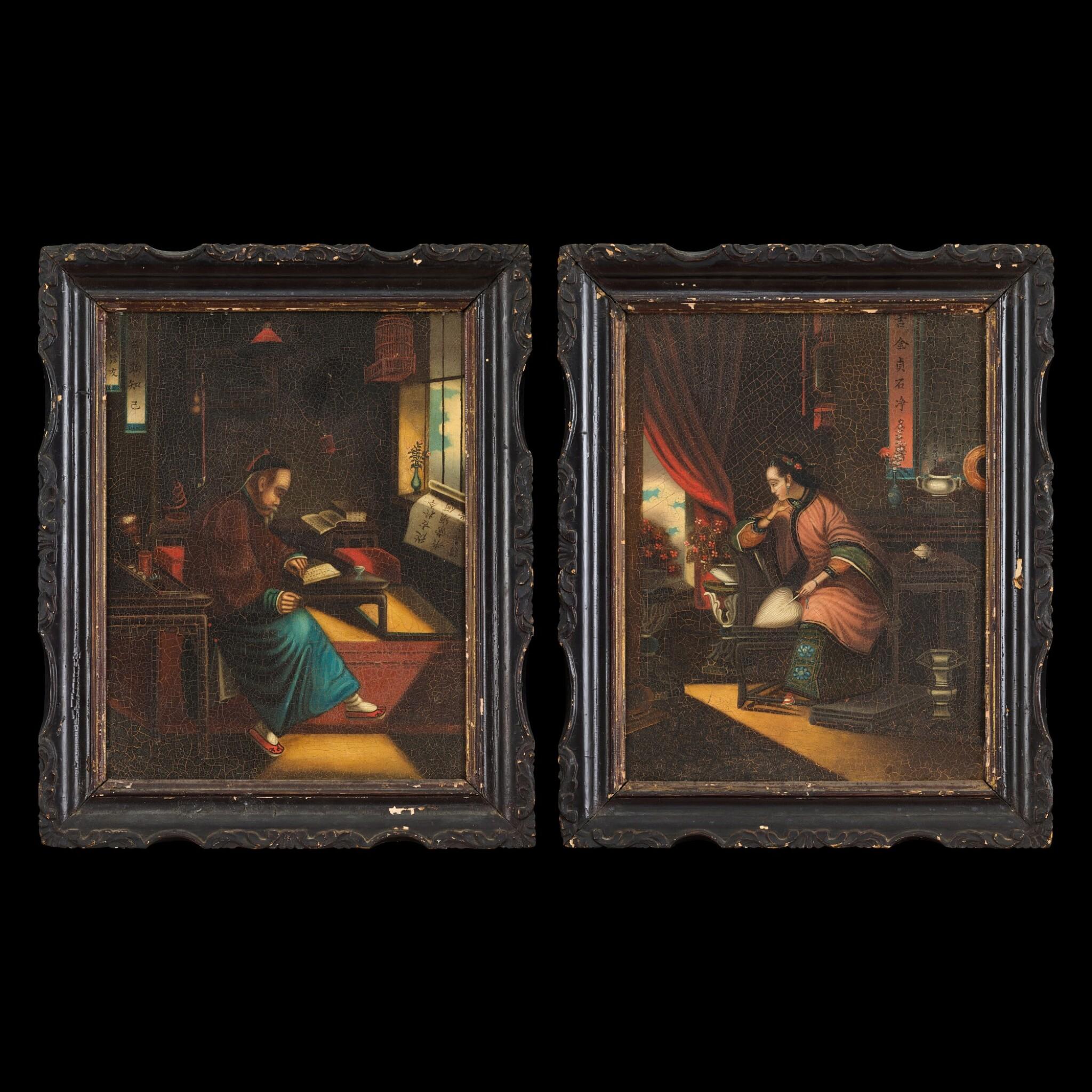 View full screen - View 1 of Lot 189. Anglo-Chinese School, Early 19th century Mandarin Scholar and His Wife | 十九世紀初 英裔中國畫派   中國學者伉儷肖像一組兩幅   布本油畫 木框.