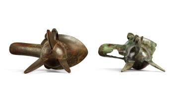 View 8. Thumbnail of Lot 99. An archaic bronze ritual wine vessel (Jue), Late Shang Dynasty.