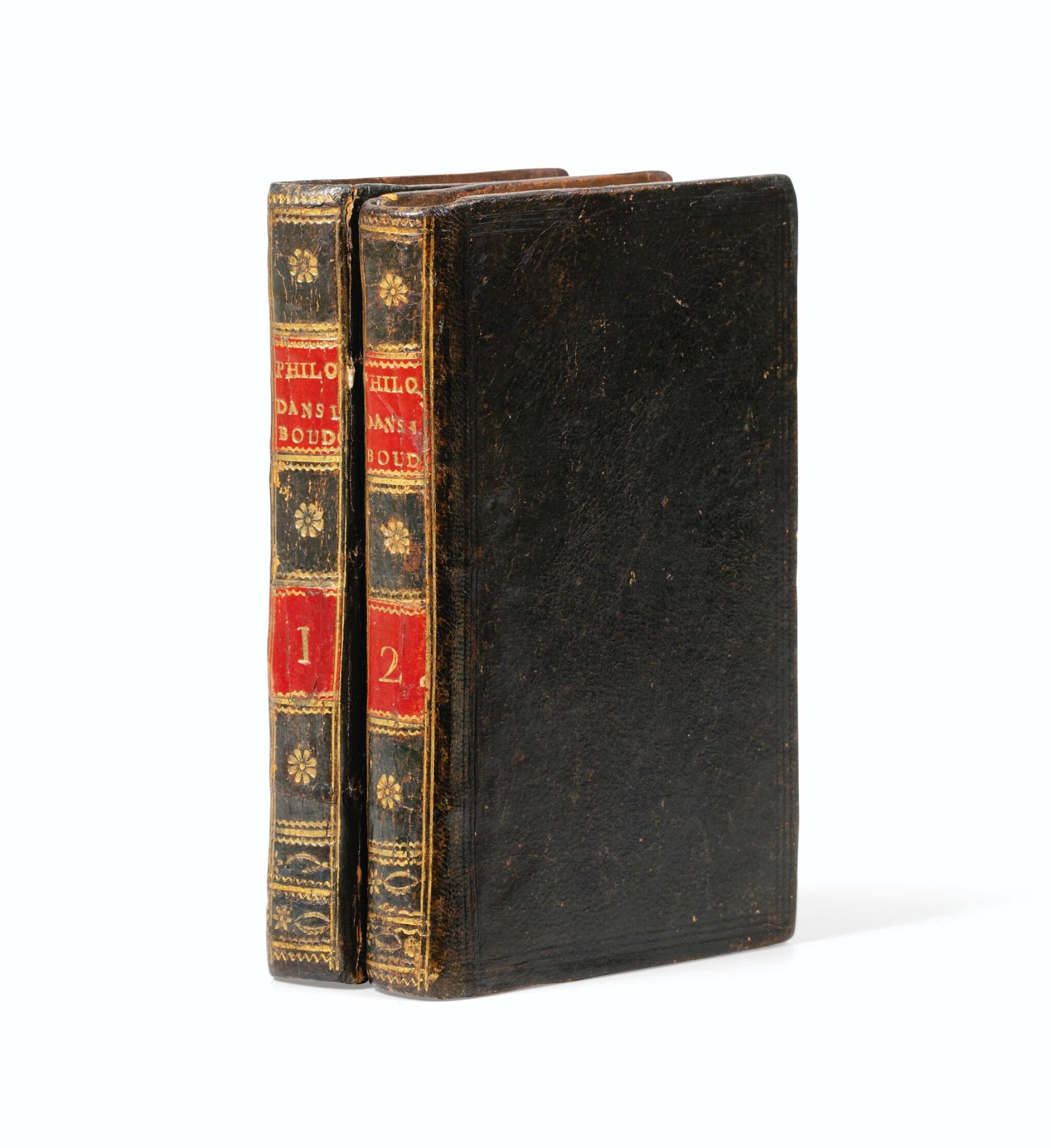View full screen - View 1 of Lot 39. La philosophie dans le boudoir. [Paris], 1795. 2 vol. in-12. Reliure de l'époque. Rare édition orignale..
