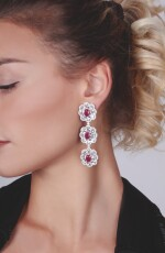 PAIR OF RUBY, WHITE SAPPHIRE AND DIAMOND EARRINGS, MICHELE DELLA VALLE