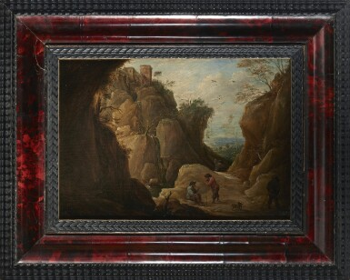 View 2. Thumbnail of Lot 239. DAVID TENIERS THE YOUNGER   MOUNTAIN LANDSCAPE WITH TRAVELLERS.