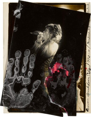 View 1. Thumbnail of Lot 35. PETER BEARD | 'NERVOUS BREAKDOWN CITY', MICK JAGGER AT MADISON SQUARE GARDEN, 1972.