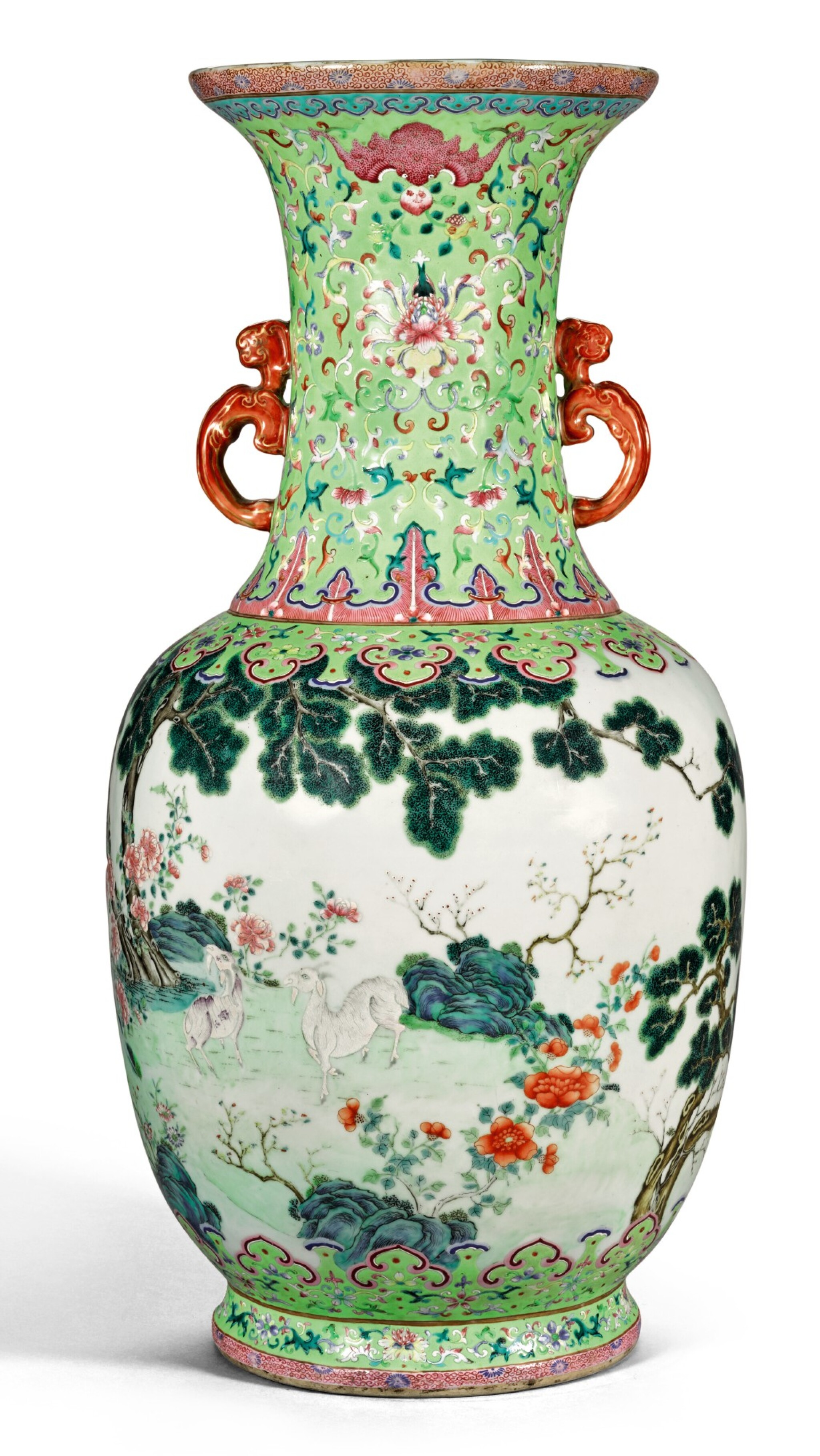View 1 of Lot 162. A FINE AND RARE LARGE LIME-GREEN GROUND FAMILLE-ROSE 'THREE RAMS' VASE QING DYNASTY, DAOGUANG PERIOD SHENDETANG HALL MARK | 清道光 綠地粉彩通景三羊開泰雙螭耳大瓶 《慎德堂製》款.