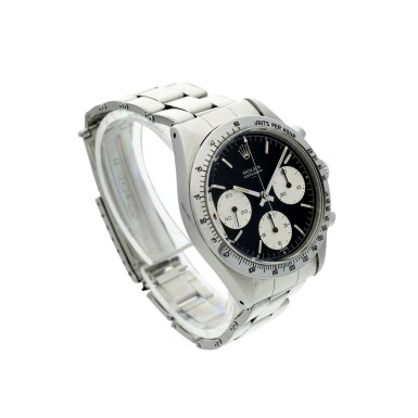 View 3. Thumbnail of Lot 1. ROLEX | REFERENCE 6239 'DOUBLE SWISS UNDERLINE' DAYTONA   A STAINLESS STEEL CHRONOGRAPH WRISTWATCH WITH REGISTERS, CIRCA 1963.
