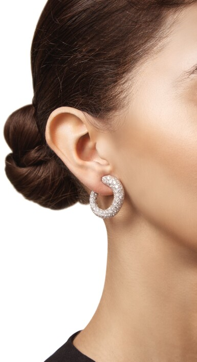 View 2. Thumbnail of Lot 109. PAIR OF DIAMOND EARCLIPS, CARTIER.