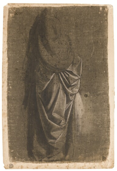 View 1. Thumbnail of Lot 40. ANDREA DEL VERROCCHIO  |  DRAPERY STUDY OF A STANDING FIGURE FACING RIGHT, IN PROFILE.