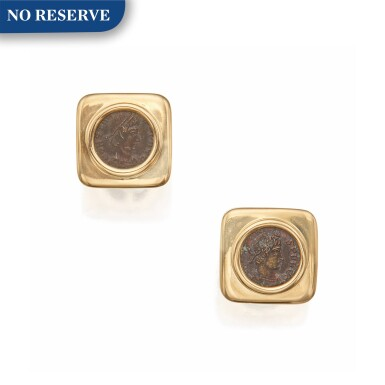 View 1. Thumbnail of Lot 400. Bulgari | Pair of Gold and Ancient Coin 'Monete' Cufflinks.