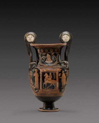 View 1. Thumbnail of Lot 33. An Apulian Red-figured Volute Krater, circa 350-330 B.C..