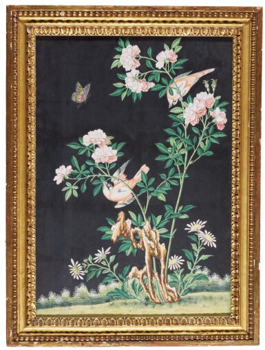 View 1. Thumbnail of Lot 93. A Chinese Export painting of finches and a butterfly on a rose bush, 19th century.