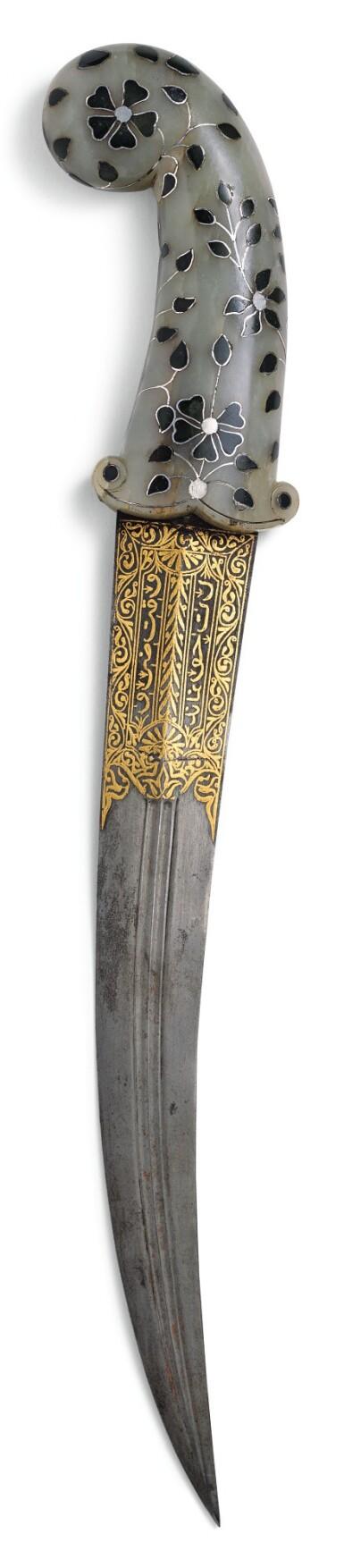 A MUHAL JADE AND SILVER-INLAID JADE-HILTED DAGGER (KHANJAR), INDIA, 18TH CENTURY