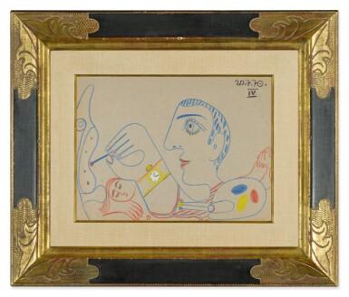 View 2. Thumbnail of Lot 115. Le Peintre et son modèle (A Double-Sided Drawing).