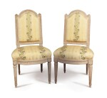A SET OF TEN LOUIS XVI CARVED AND WHITE-PAINTED CHAISES A LA REINE, TWO LATE 18TH CENTURY AND STAMPED G.IACOB, TOGETHER WITH EIGHT LATER COPIES
