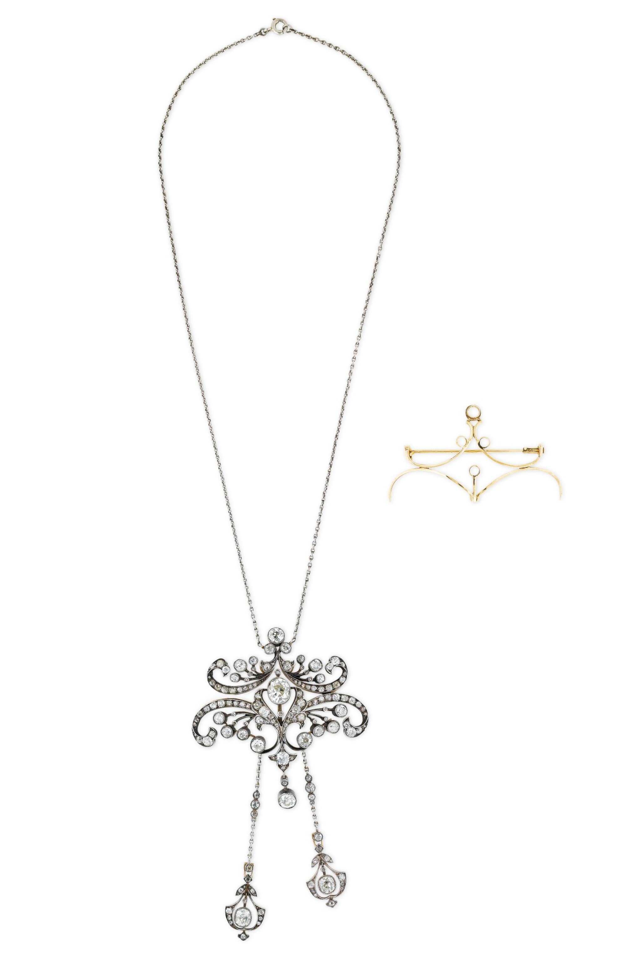 View full screen - View 1 of Lot 4. COLLIER TRANSFORMABLE DIAMANTS | DIAMOND CONVERTIBLE NECKLACE.