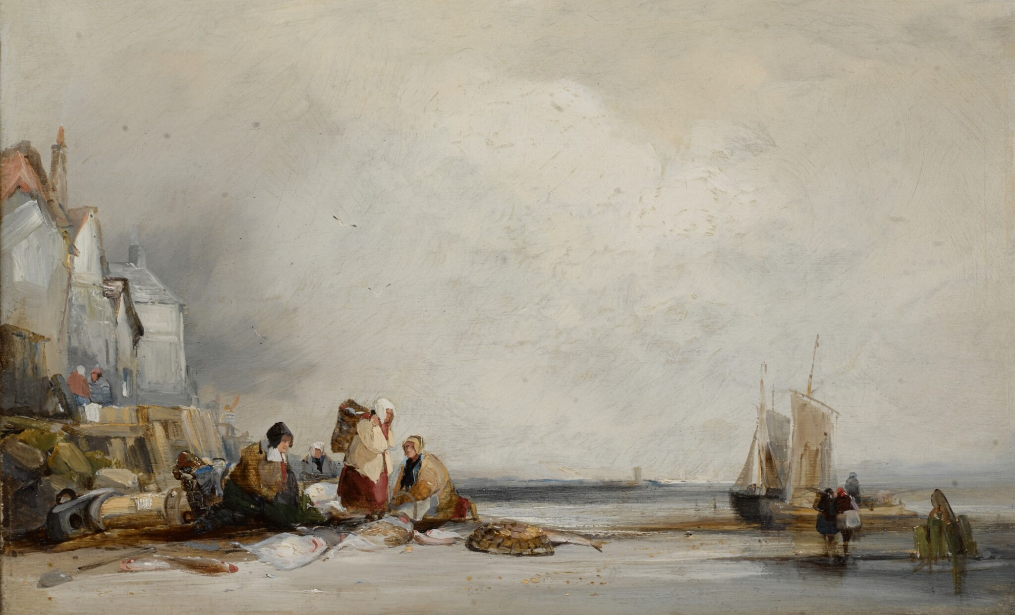 View full screen - View 1 of Lot 216. FOLLOWER OF RICHARD PARKES BONINGTON | A beach scene in Fécamp.