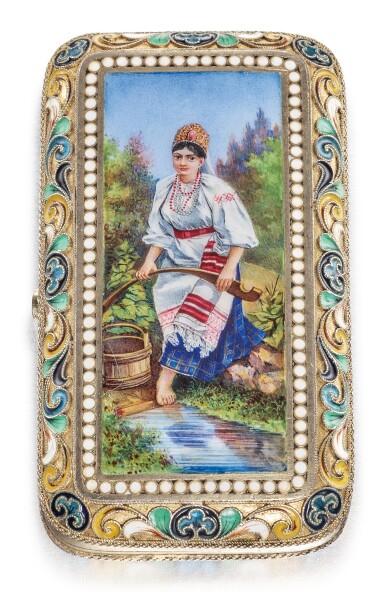 A SILVER-GILT CLOISONNÉ AND EN PLEIN PICTORIAL CIGARETTE CASE, POSSIBLY VASILY SEMENOV, MOSCOW, CIRCA 1890
