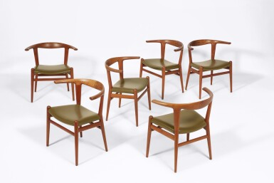 """View 2. Thumbnail of Lot 68. Eight """"Bullhorn"""" Dining Chairs."""