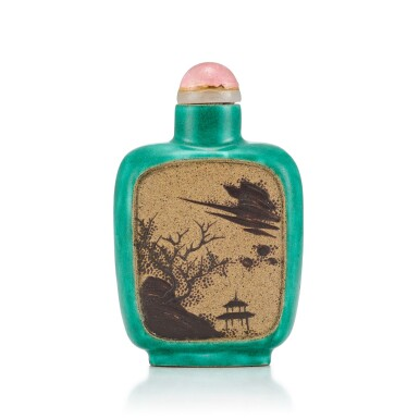 View 2. Thumbnail of Lot 3035. An Yixing Slip-Decorated Snuff Bottle Liangming Tang Zhang Hall Mark, Qing Dynasty, 19th Century | 清十九世紀 宜興紫砂堆料加彩梅花山水鼻煙壺 《兩銘堂張》款.