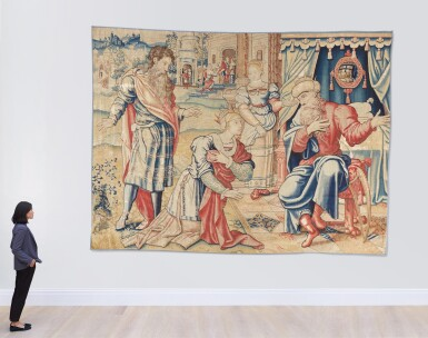 View 2. Thumbnail of Lot 4. A Flemish classical narrative tapestry, possibly from the Story of David, Brussels, first quarter 16th century.