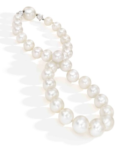 View 2. Thumbnail of Lot 211. Cartier [卡地亞]   A Rare Natural Pearl and Diamond Necklace [罕有天然珍珠配鑽石項鏈].
