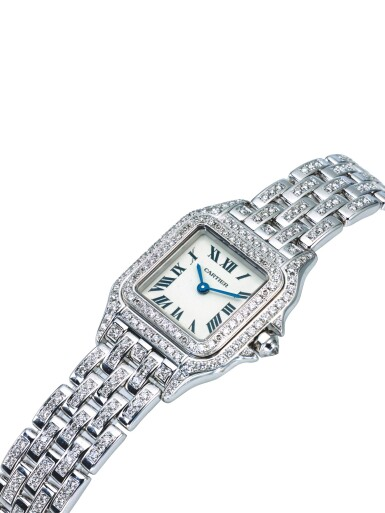 View 2. Thumbnail of Lot 35. CARTIER | REF 1660 PANTHÉRE, A LADY'S WHITE GOLD AND DIAMOND SET WRISTWATCH WITH BRACELET CIRCA 2010.