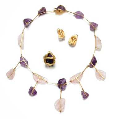 View 3. Thumbnail of Lot 167. Amethyst and rose quartz demi-parure and an amethyst ring.