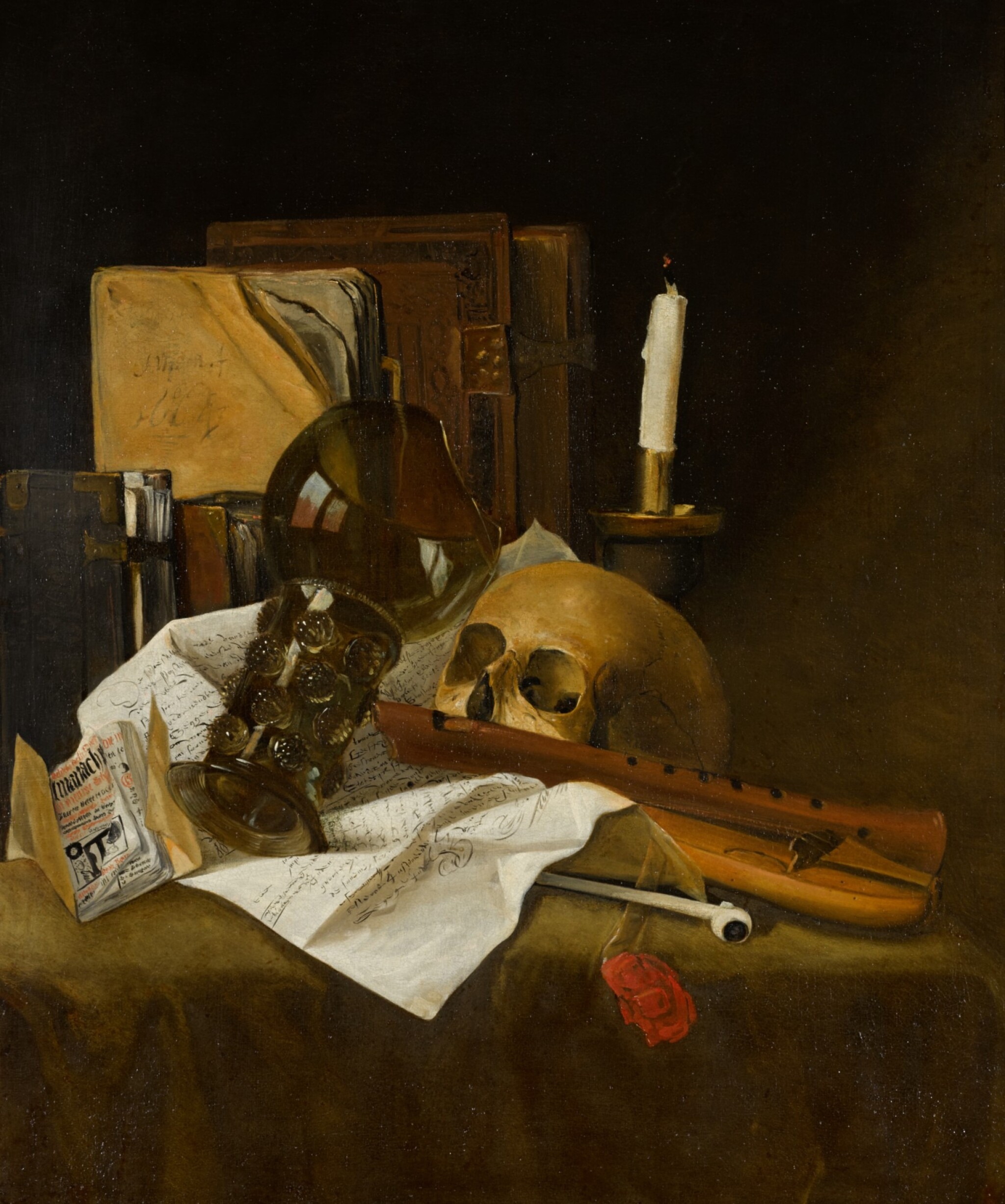 View full screen - View 1 of Lot 28. ATTRIBUTED TO JACQUES DE CLAEUW | Vanitas still life with a broken glass roemer, recorder, skull, extinguished candle, documents and books.