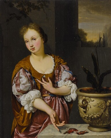 View 1. Thumbnail of Lot 535. Vanitas portrait of a young woman  .