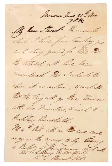 View 2. Thumbnail of Lot 128. DUKE OF WELLINGTON | autograph letter signed, to Sir Charles Stuart, seven days after Waterloo, 1815.
