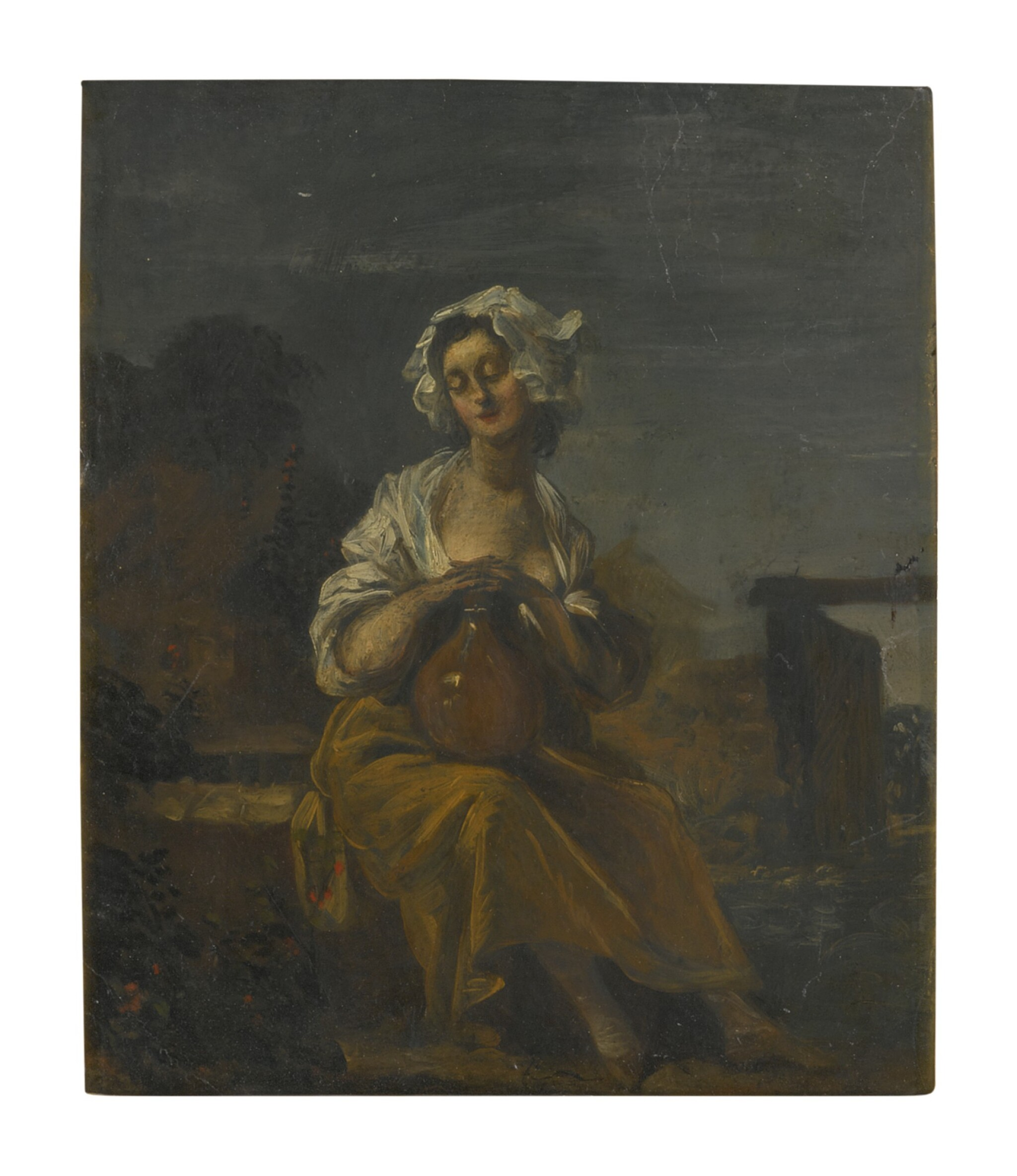 View full screen - View 1 of Lot 120. Sold Without Reserve | SPANISH SCHOOL, 18TH CENTURY | A YOUNG WASHERWOMAN IN A LANDSCAPE.