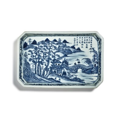 View 1. Thumbnail of Lot 80. A blue and white 'landscape' tray, Mark and period of Jiaqing | 清嘉慶 青花山水圖詩文長方倭角托盤 《大清嘉慶年製》款.