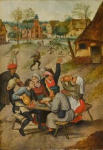 PIETER BRUEGHEL THE YOUNGER  |  A VILLAGE SCENE WITH PEASANTS CAROUSING