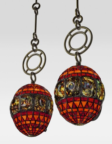 """View 1. Thumbnail of Lot 410. TIFFANY STUDIOS   A RARE AND EARLY PAIR OF """"TURTLE-BACK"""" LANTERNS."""