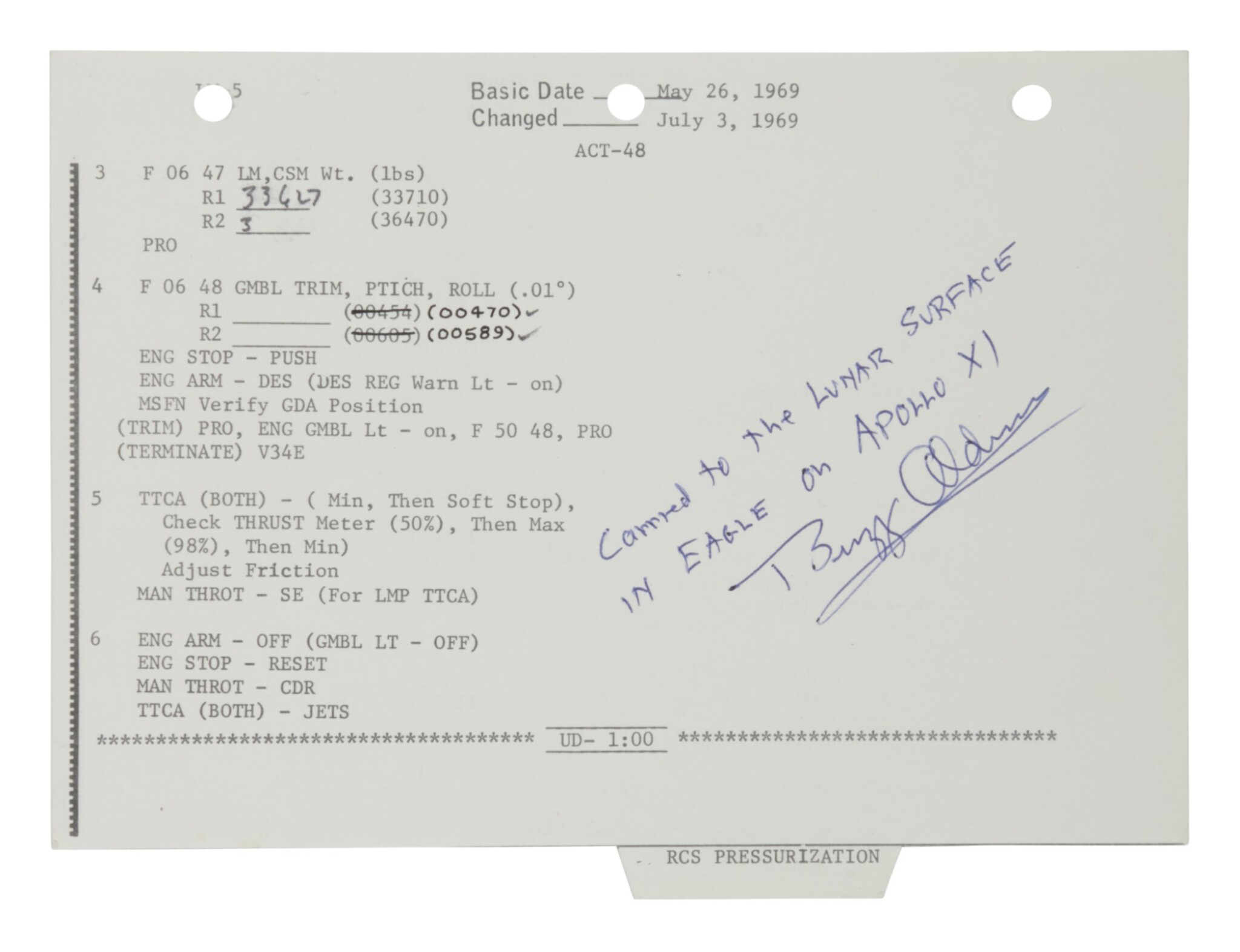 View full screen - View 1 of Lot 45. [Apollo 11] — Lunar Surface Flown Checklist sheet with notations by Neil Armstrong.
